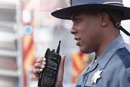 State Trooper using XL-200P LTE-ready two-way portable radio