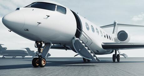 Business Jet with stairs down